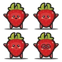 Sweet cartoon strawberry fruit kawaii design premium vector