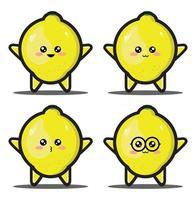 Cute cartoon lemon vegetable kawaii design premium vector