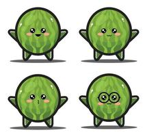 Sweet cartoon watermelon fruit kawaii design premium vector