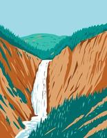 Lower Yellowstone Falls Within Yellowstone National Park Located in Wyoming USA WPA Poster Art vector