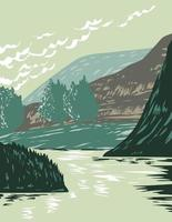 Missouri River in Missouri Breaks Located in Upper Missouri River Breaks National Monument in Montana USA WPA Poster Art vector