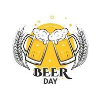 Cheers with beer mugs International Beer Day August vector