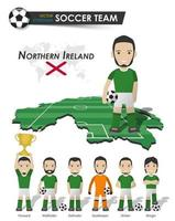 Northern ireland national soccer cup team . Football player with sports jersey stand on perspective field country map and world map . Set of footballer positions . Cartoon flat character . Vector .