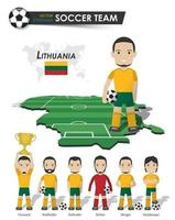 Lithuania national soccer cup team . Football player with sports jersey stand on perspective field country map and world map . Set of footballer positions . Cartoon character flat design . Vector .