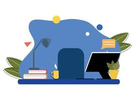 a workplace with a laptop, a lamp, an armchair, books. Abstract background, workplace. Flat unique illustration vector