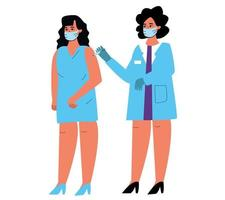 a female doctor puts a vaccine injection in the patient's hand, a shot from the disease. A woman with an injection in her hand. vector illustration of a medical topic