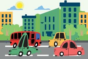 Cute cars are driving along the road along the street of the city, cars are hand-drawn in the style of doodle. Vector children's illustration of cars for books, notebooks, stickers and prints