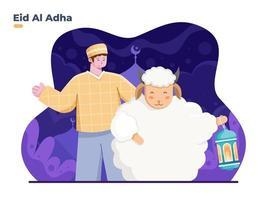 Eid Al Adha Flat illustration with Muslim person and goat animal with bringing lanterns. Celebrates Eid Al Adha Mubarak with a goat. Qurban, Sacrifice islamic festival. greeting card, banner, poster. vector