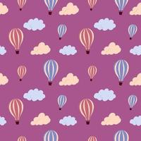 Seamless pattern with flying hot air balloon and colorful clouds, on a  background. Vector endless texture for travel design.