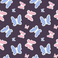 Multicolored butterflies on a dark background. Seamless pattern for the nursery. Vector endless texture