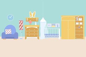 Children's room interior with a crib, a wardrobe with toys, a shelf, a chest of drawers and an armchair. Vector illustration in flat style. Nursery room