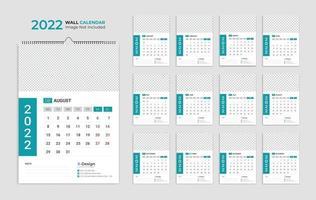 2022 wall calendar template, schedule calendar yearly business planner, timetable, events calendar, desk calendar vector