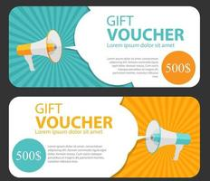 Gift Voucher Template For Your Business. Megaphone and Speech Bubble vector
