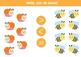 More, less or equal. Math game for kids. Count snails and bees vector