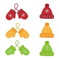 Set of colorful mittens and winter caps vector