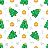 Christmas seamless pattern with fir tree and balls. vector