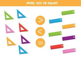 More, less or equal. Count how many rulers vector