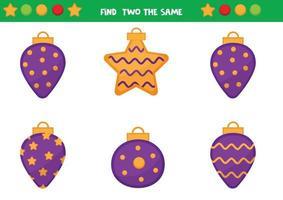 hoja de trabajo educativa para niños en edad preescolar. encuentra dos bolas navideñas iguales. juego de lógica. vector