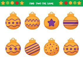 hoja de trabajo navideña para niños en edad preescolar. encuentra dos bolas navideñas iguales. juego educativo para niños. vector