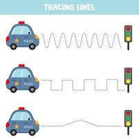 Education game for preschool kids. Tracing lines with police car. Handwriting practice. vector
