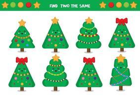 Encuentra dos árboles de Navidad iguales. vector