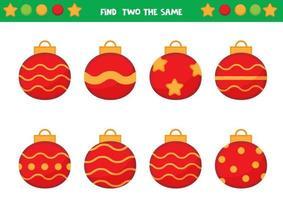 encuentra dos bolas navideñas iguales. juego educativo para niños. hoja de trabajo para niños en edad preescolar. vector