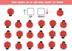 Spatial orientation for kids. Up and down. Count how many vector