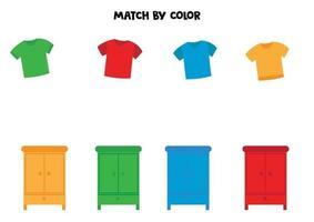 Match t-shirts and wardrobes by color. vector