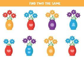 Encuentra dos flores iguales en un jarrón. vector