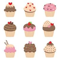 Set of cute valentines cupcakes. vector