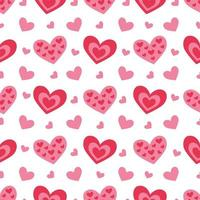 Cute seamless pattern with hearts for Valentine day. vector