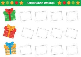 Handwriting practice with Christmas gift boxes. vector