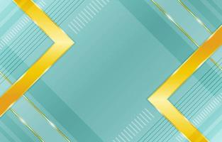 Gradient Geometric Green Background with Gold Highlights Composition vector