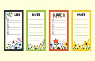 Cute Floral Note Book Collection Set vector