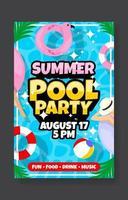 plantilla de cartel de fiesta en la piscina de verano vector
