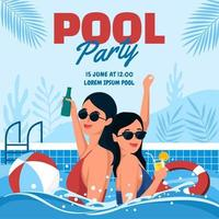 Swimming Pool Party in Summer vector