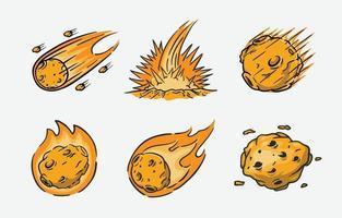 icono de lluvia de meteoritos vector