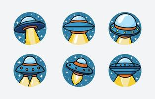 UFO Shape in Circle Icon vector