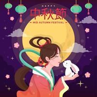 Mid Autumn Festival Beauty Goddess Carrying Rabbit vector