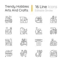 Trending hobbies linear icons set. Home business. Boho style. Craft activity. Creative reuse. Home decor. Customizable thin line contour symbols. Isolated vector outline illustrations. Editable stroke
