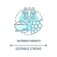 Nutrient density concept icon. Amount of nutritions in food. Quality of ingredients. Healthy eating abstract idea thin line illustration. Vector isolated outline color drawing. Editable stroke