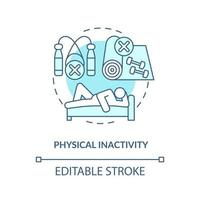 Physical inactivity concept icon. Sitting or laying down during day. Lazy lifestyle. Health issues abstract idea thin line illustration. Vector isolated outline color drawing. Editable stroke