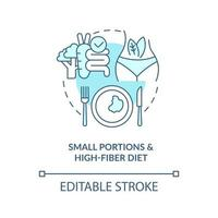 Small portions and high fiber diet concept icon. Eating in small amounts. Diet for diabetes abstract idea thin line illustration. Vector isolated outline color drawing. Editable stroke
