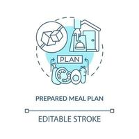 Prepared meal plan concept icon. Eating strategy for disease treatment. Healthy foods for illness. Diabetes abstract idea thin line illustration. Vector isolated outline color drawing. Editable stroke