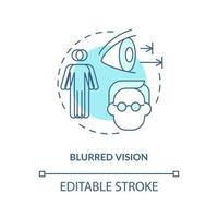 Blurred vision concept icon. Problems with eyes. Medical help. Curing visionary issues. Seeing badly abstract idea thin line illustration. Vector isolated outline color drawing. Editable stroke