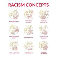 Racism concept icons set. Fighting racial discrimination and intolerance idea thin line color illustrations. Ensure safety. Tolerance promotion. Ethnic bullying. Vector isolated outline drawings
