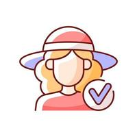 Wearing wide brimmed hat RGB color icon. Woman in outfit for beach. Avoid sunstroke with headwear during summer. Isolated vector illustration. Heatstroke prevention simple filled line drawing