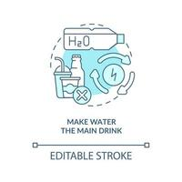 Make water main drink concept icon. Improve everyday liquid drinking. Staying hydrated. Healthy habits abstract idea thin line illustration. Vector isolated outline color drawing. Editable stroke
