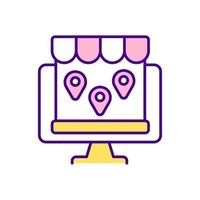 Multichannel electronic commerce RGB color icon. Isolated vector illustration. Multiple online marketplaces. Business strategy. Selling items across various channels simple filled line drawing