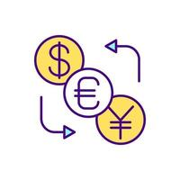 Currency conversion RGB color icon. Cross-border purchases. Cash transferring. Isolated vector illustration. Bank account. Sending money abroad. Foreign exchange rates simple filled line drawing